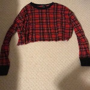 Forever 21 Plaid Crop Top Full Sleeves